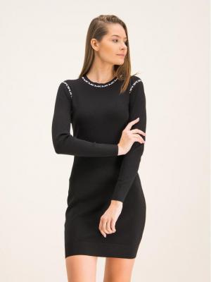 MICHAEL Michael Kors Sukienka dzianinowa Trim Stretch MF98ZGABVC Czarny Slim Fit