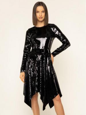 MICHAEL Michael Kors Sukienka koktajlowa Sequined Handkerchief MF98Z615DZ Czarny Regular Fit