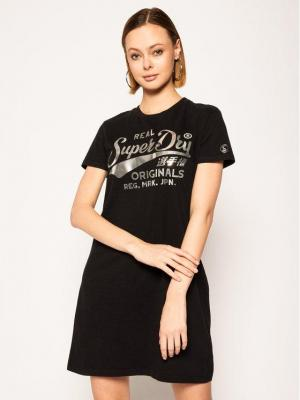 Superdry Sukienka codzienna Core W8010139A Czarny Regular Fit