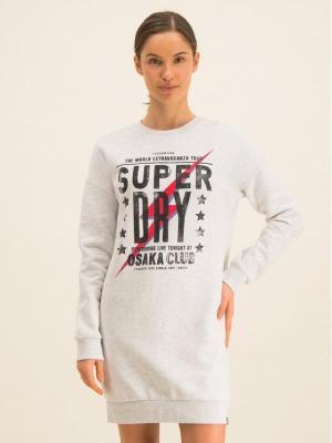 Superdry Sukienka dzianinowa Osaka Club W8000053A Szary Regular Fit