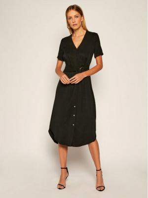 Calvin Klein Sukienka codzienna Tencel Ss Wrap K20K202182 Czarny Regular Fit