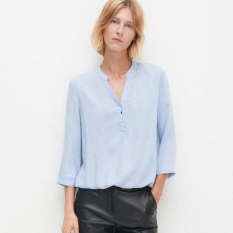 Reserved - Gładka bluzka z dekoltem V - Niebieski
