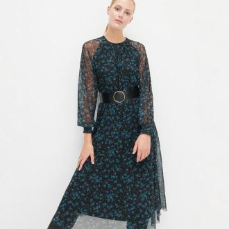 Reserved - Sukienka w kwiaty z szerokim paskiem - Wielobarwny