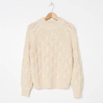 House - Ażurowy sweter oversize - Kremowy