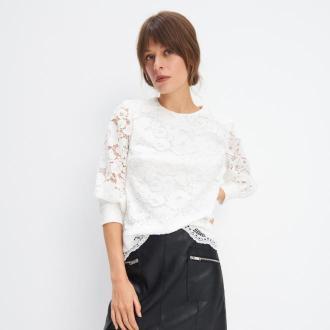 Mohito - Koronkowa bluzka - Kremowy