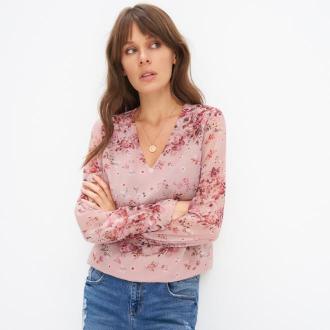 Mohito - Szyfonowa bluzka w kwiaty - Różowy