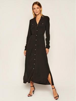 Calvin Klein Sukienka koszulowa Ls V-Neck Pkt K20K202069 Czarny Regular Fit