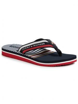 TOMMY HILFIGER Japonki Stripy Flap Beach Sandal FW0FW04799 Granatowy