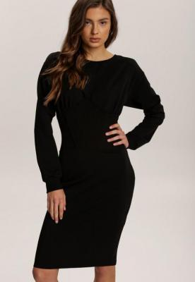 Czarna Sukienka Dzianinowa Biven