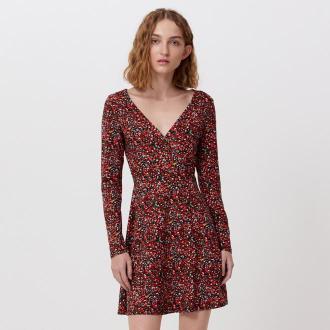 Cropp - Sukienka w kwiaty - Czerwony