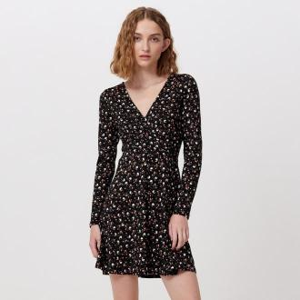 Cropp - Sukienka w kwiaty - Czarny
