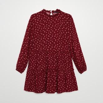 Cropp - Sukienka w drobne kwiatki - Czerwony