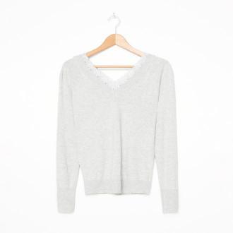 House - Wiskozowy sweter z dekoltem w serek - Jasny szary