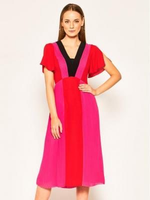 KARL LAGERFELD Sukienka koktajlowa Pleated Colour Block 201W1303 Różowy Regular Fit