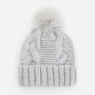 Reserved - Ciepła czapka z wełną - Jasny szary