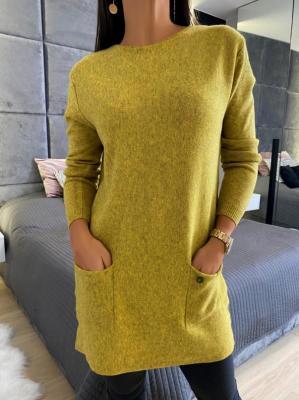 Limonkowy Sweterek z Kieszeniami 5173-318-C