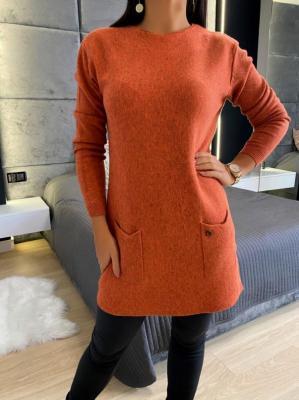 Pomarańczowy Sweterek z Kieszeniami 5173-318-E