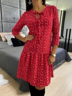 Czerwona Sukienka w Kwiatki 4649-73-C