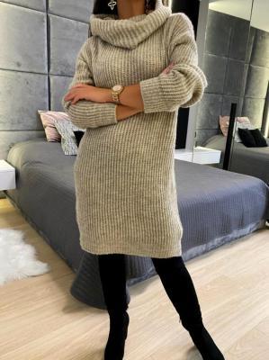 Beżowa Sweterkowa Sukienka z Golfem 5212-78-A