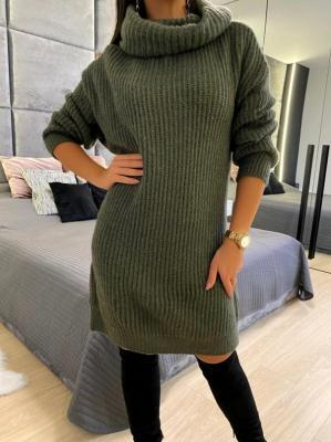 Khaki Sweterkowa Sukienka z Golfem 5212-78-C