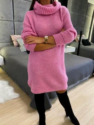 Różowa Sweterkowa Sukienka z Golfem 5212-78-E