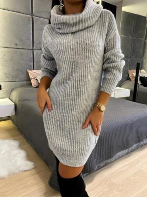 Szara Sweterkowa Sukienka z Golfem 5212-78-F
