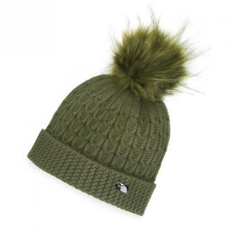 Damska czapka z wiskozy z pomponem