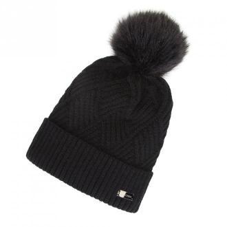 Damska czapka o splocie w karo z pomponem