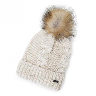 Damska czapka z metaliczną nicią i pomponem