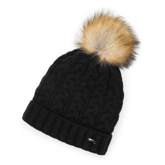 Damska czapka o warkoczowym splocie z pomponem