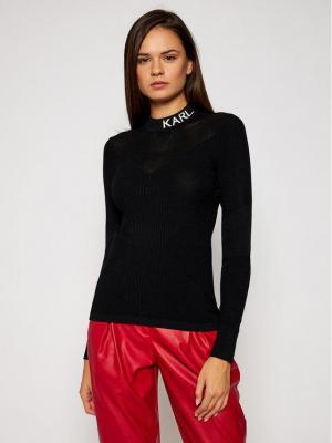 KARL LAGERFELD Sweter Pointelle Logo 206W2000 Czarny Skinny Fit