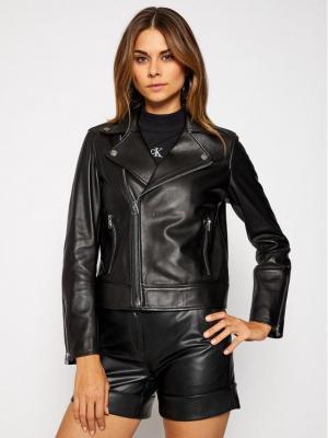 Calvin Klein Kurtka skórzana Essential K20K201429 Czarny Regular Fit