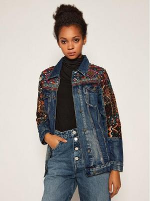 Desigual Kurtka jeansowa Athlas Park 20WWED19 Granatowy Regular Fit