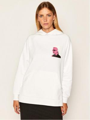 KARL LAGERFELD Bluza Karl Legend Print Hoodie 205W1820 Biały Oversize