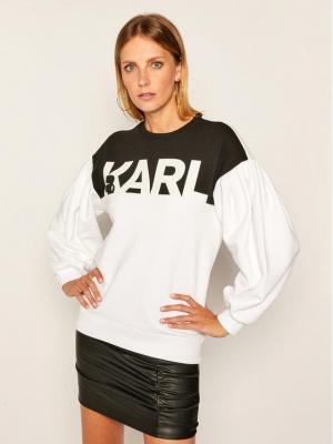 KARL LAGERFELD Bluza Logo 205W1814 Biały Relaxed Fit