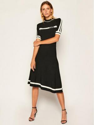 KARL LAGERFELD Sukienka dzianinowa Knit W Logo 205W2005 Czarny Regular Fit
