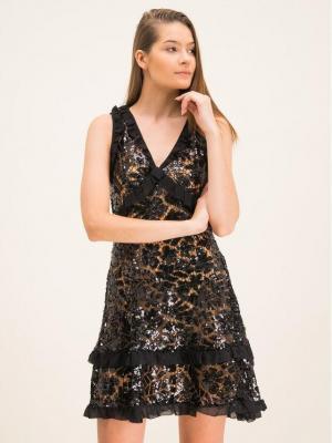 MICHAEL Michael Kors Sukienka koktajlowa Sequined Lace Ruffle MF98ZGCD1Y Czarny Regular Fit