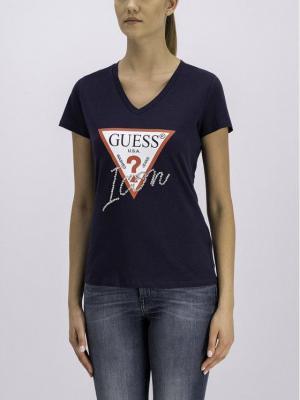 Guess T-Shirt W92I59 K75R0 Granatowy Slim Fit