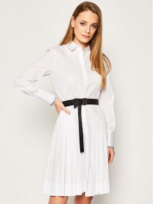 KARL LAGERFELD Sukienka koszulowa Logo Belt 201W1305 Biały Regular Fit