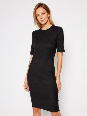 Superdry Sukienka dzianinowa Nyc Multi Rib W8010379A Czarny Slim Fit