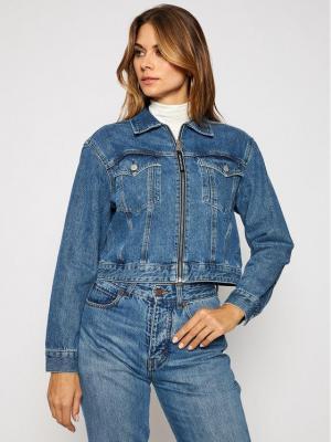 Calvin Klein Jeans Kurtka jeansowa J20J214571 Granatowy Cropped Fit
