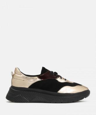 Czarno złote sneakersy damskie
