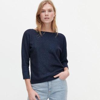 Reserved - Bawełniany sweter - Granatowy