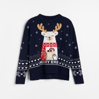 Reserved - Sweter świąteczny z reniferem - Granatowy