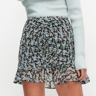 Reserved - Mini spódnica w kwiaty - Niebieski
