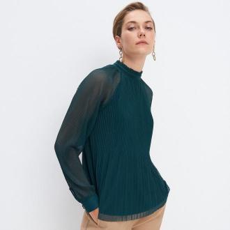 Mohito - Plisowana bluzka ze stójką - Khaki