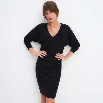 Mohito - Dzianinowa sukienka ze ściągaczem - Czarny