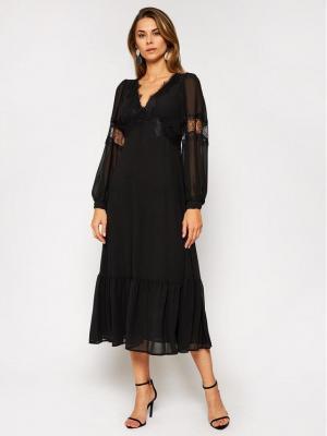 MICHAEL Michael Kors Sukienka koktajlowa Georgette MF0800H7R3 Czarny Regular Fit