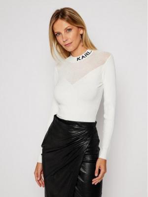 KARL LAGERFELD Sweter Pointelle Logo 206W2000 Biały Slim Fit