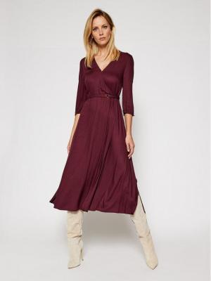 Calvin Klein Sukienka codzienna Twill Wrap K20K202392 Fioletowy Regular Fit